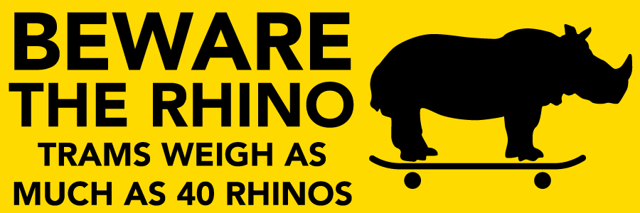 Image: Beware the Rhino Trams weigh as much as 40 rhinos